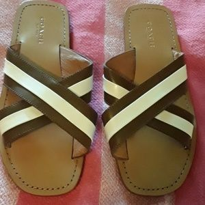 Size 6 womens leather Coach slides